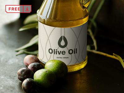 Free Olive Oil Mockup typography illustration design print bottle olive oil branding identity psd free download