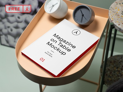 Free Magazine on Table PSD Mockup illustration design font print template stationery branding magazine psd free download