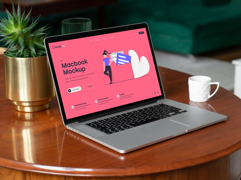 MacBook Pro Mockups PSD Scenes bundle mockup typography template design identity branding webdesign website macbookpro psd download