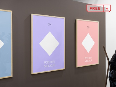 Free Triple Poster Mockups poster frame stationery identity bundle canvas artwork branding template illustration typography print mockups psd free download