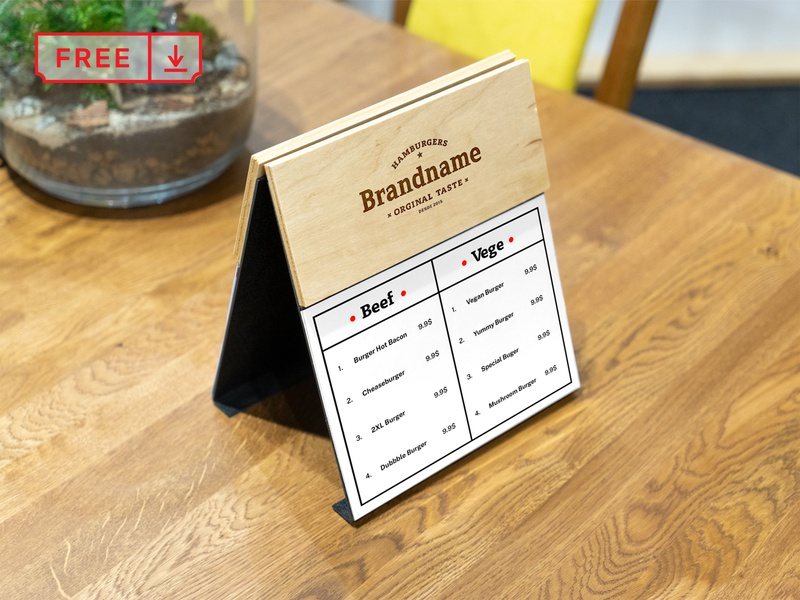 Free Wood Menu PSD Mockup logo typography template design branding bar restaurant wood menu identity psd free download