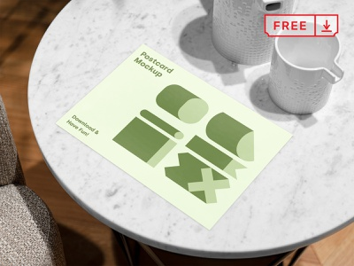 Free Postcard PSD Mockup illustration mockup design print logo typography template postcard psd freebie free download