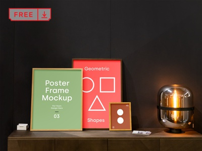 Free Poster Frames Mockup poster frame stationery identity bundle canvas artwork branding template illustration typography print mockups free psd download
