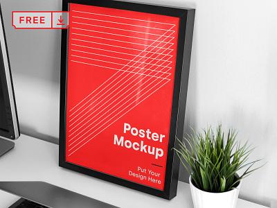 Free  Big Frame Poster Mockup poster frame stationery identity bundle canvas artwork branding template illustration typography print mockups psd free download