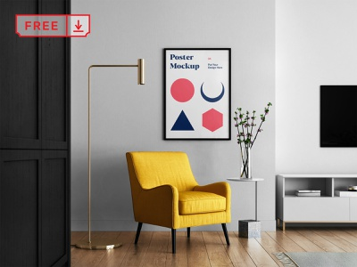 Free Living room with Poster Mockup room poster frame stationery identity bundle canvas artwork branding download template illustration typography print mockups psd