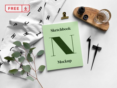 Free Sketchbook PSD Mockup illustration design print logo identity branding typography sketchbook psd freebie free download