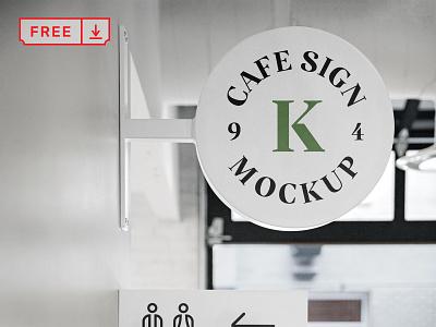 Free Café Sign Mockup mockups mockup typography design logo psd identity branding sign cafe download free