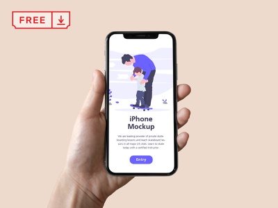 Free iPhone in Hand Mockup iphone x iphone website web design design template app design identity free psd download