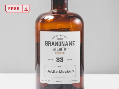 Free Transparent Glass Bottle Mockup label mockup design bottle glass bottle template typography branding free identity psd download