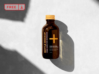 Free Bottle PSD Mockup label logo design typography bottle identity branding free psd download