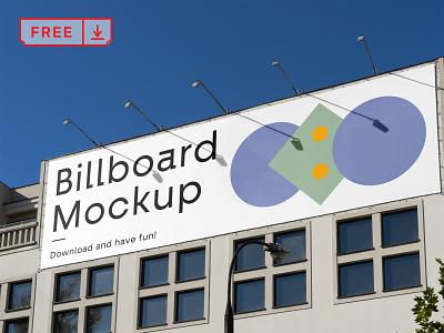 Free Billboard one the Building Mockup building advertisement billboard mockup design typography branding identity psd free download