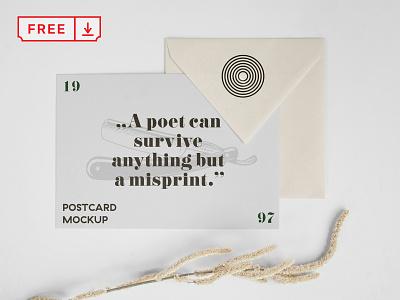 Free Horizontal Postcard and Envelope Mockup branding stationery design typography postcard envelope identity psd freebie free download