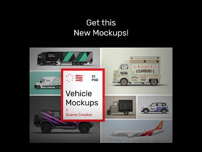 Vehicle Mockups Premade Scene logotype branding mockup bundle design logo template vehicle identity psd download