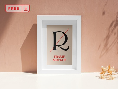Free White Frame PSD Mockup mockup typography photo poster frame illustration design font print free psd download