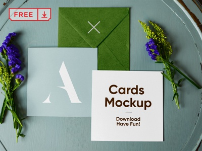 Free Envelope with Cards Mockup logo font print design stationery envelope postcard card identity free psd download