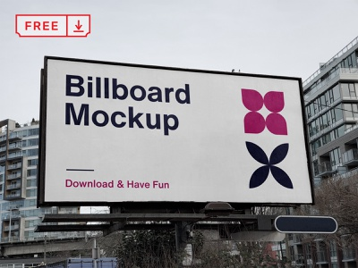 Free City Billboard PSD Mockup logo font print illustration design identity branding advertising billboard free psd download