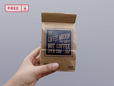Free Paper Coffee Bag PSD Mockup design mockup stationery logo coffee paperbag freebie free branding identity psd download
