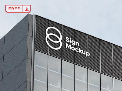 Free Building Sign Mockup sign mockup building branding identity psd download free