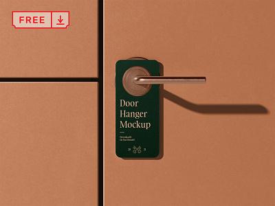 Free Door Hanger Mockup branding logo hotel mockup design identity psd download doorhanger free