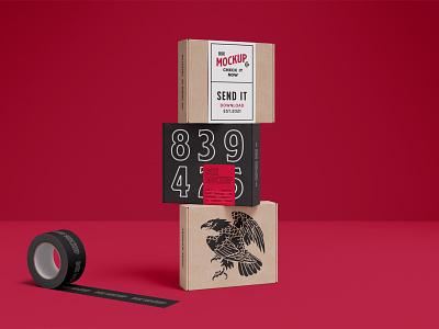 Box Mockups PSD scenes mockup mockups packaging box design logo template branding identity psd download