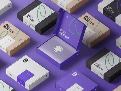 Box Mockups PSD scene box packaging mockup mockups design logo template typography branding psd identity download