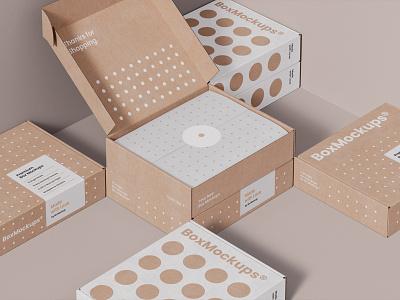 Box Mockups PSD scene mockups mockup box packaging design logo template typography branding identity psd download