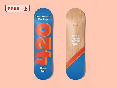 Free Skateboard Mockup freebie free typography design logo branding identity psd skate skateboard download