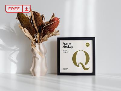Frame with Flower on Desk Mockup artwork tabel wood frame frame poster illustration design template typography psd download free
