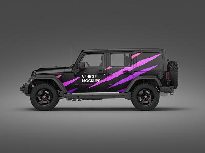 Vehicle Mockups Premade Scene vehicles mockups mockup jeep car design logo template typography branding identity psd download