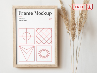 Free Frame on the Wall Mockup mockup freebie illustration design template typography branding identity psd download free