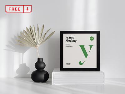 Free Square Frame on Table Mockup mockup freebie free frame illustration design template typography branding identity psd download