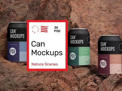 Can Mockups scenes nature metal mockups mockup beverages beer can design logo template typography branding identity psd download