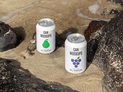 Can Mockups PSD Scenes scenes nature metal mockups mockup beverages can beer design logo template typography branding identity psd download