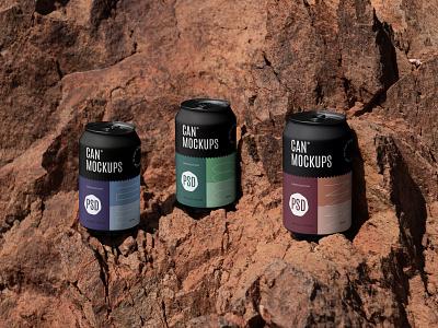Can Mockups PSD Scenes scenes nature mockup mockups beverages beer can design logo template typography branding identity psd download