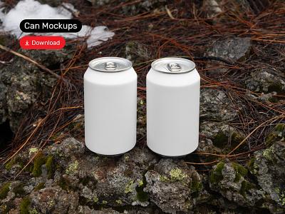 Can Mockups PSD Scenes mockups mockup beverages can beer design logo template typography branding identity psd download