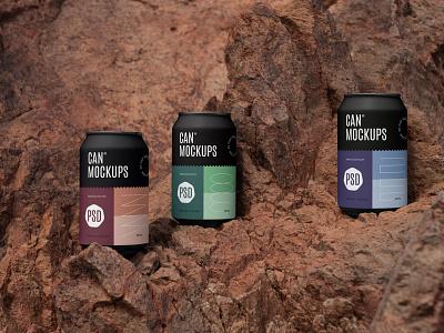 Can Mockups PSD Scenes mockups mockup beverages beer can design logo template typography branding identity psd download