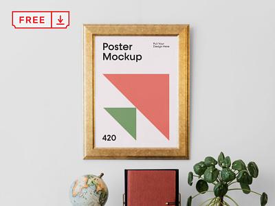 Free Poster Mockup mockups mockup free freebie poster frame illustration design logo template typography branding identity psd download