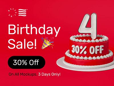 Birthday SALE! 🎉 bundle mockups sale birthday design logo template typography branding identity psd download