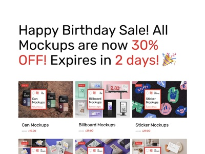 Birthday SALE! 🎉 book bottle can sticker businesscard corporate bundle mockup sale birthday mockups illustration design logo template typography branding identity psd download