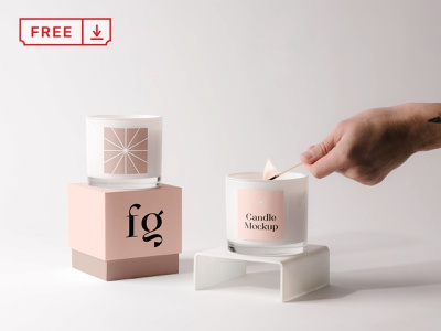Free Candles with Box Mockup mockups mockup box candle design logo template typography branding identity psd download