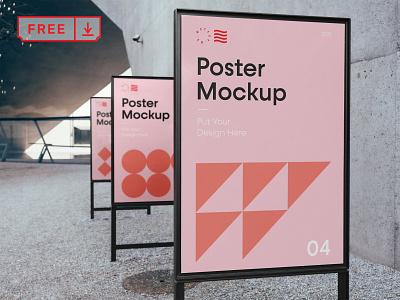 Free Triple Poster Mockup poster mockup mockups illustration design logo template typography branding identity psd download