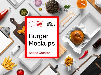Burger Mockups mockup mockups bundle foodie fastfood food bar restaurant burger design logo template psd typography branding identity download