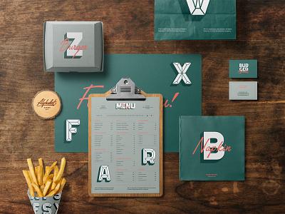 Burger Mockups Premade Scene paper bag menu mockups mockup fastfood restaurant bar burger design logo template typography branding psd identity download