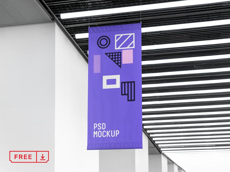 Free PSD Flag Mockup
