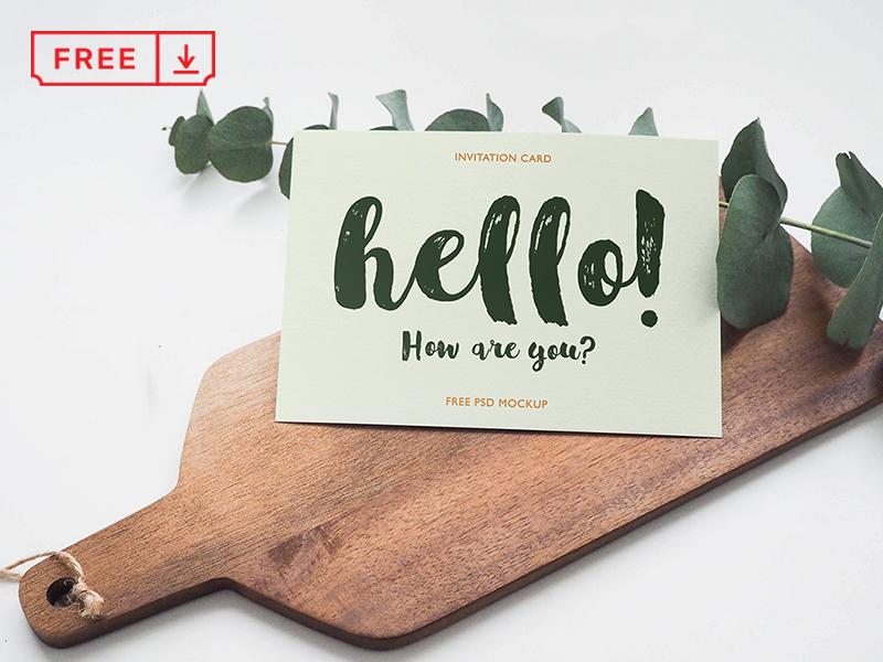 Invitation Card Mockup typography stationery psd mockups identity freebie free download card invitation branding