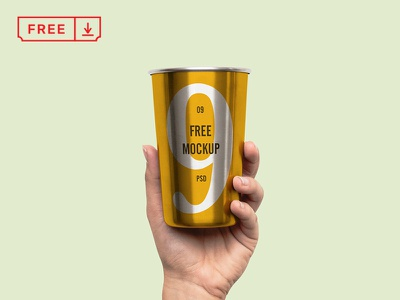 Hand Holding Metal Cup metalcup branding metal download free freebie identity mockups psd stationery typography cup