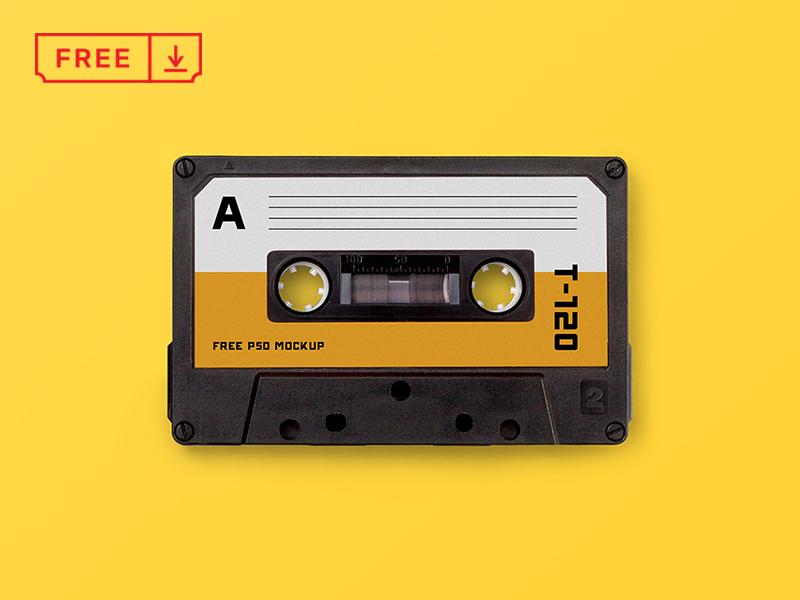 Cassette Tape Mockup retro typography cassettetape cassette branding download free freebie identity mockups psd stationery