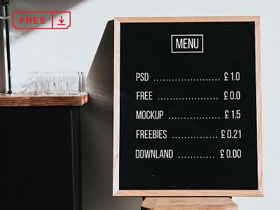Menu Board Mockup stationery psd mockups identity freebie free download branding blackboard menu typography menuboard