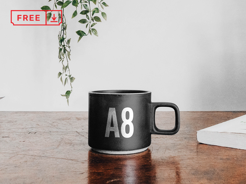 Mug on Table Mockup table mug brand free branding design psd identity mockup download typography logotype template font bundle icon freebie