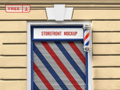 Storefront Mockup barbershop barber store storefront brand free branding design psd identity mockup download typography logotype template font bundle icon freebie